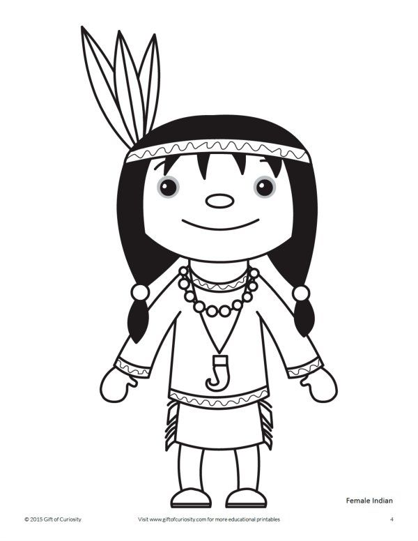 Thanksgiving Indian Coloring Page With Images Thanksgiving