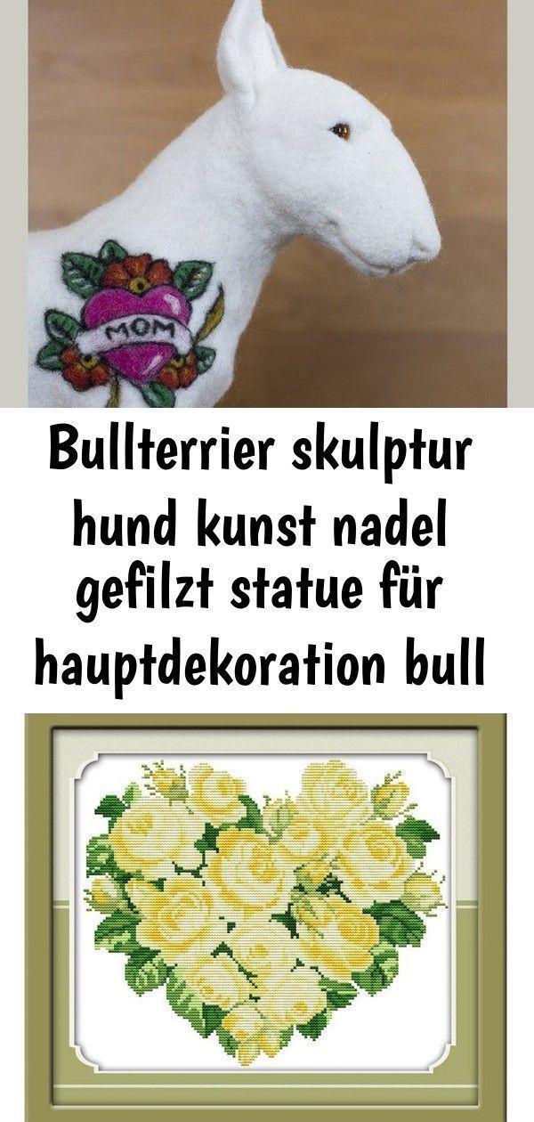Bull Terrier Sculpture Dog Art Needle Felted Statue For Home Decoration Bull art
