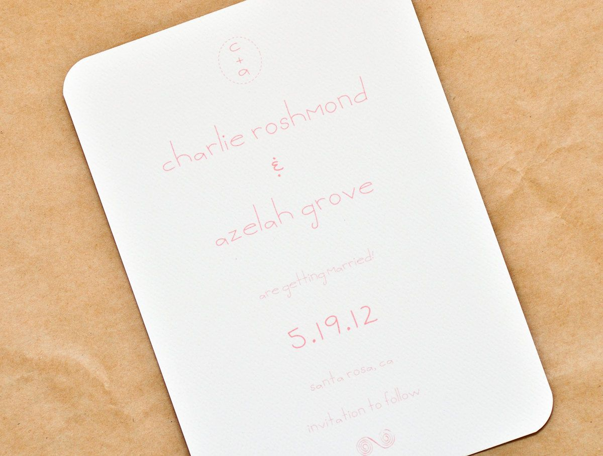 Classic Modern Vintage Wedding Save The Date Cards- Charlie. $2.00, via Etsy.