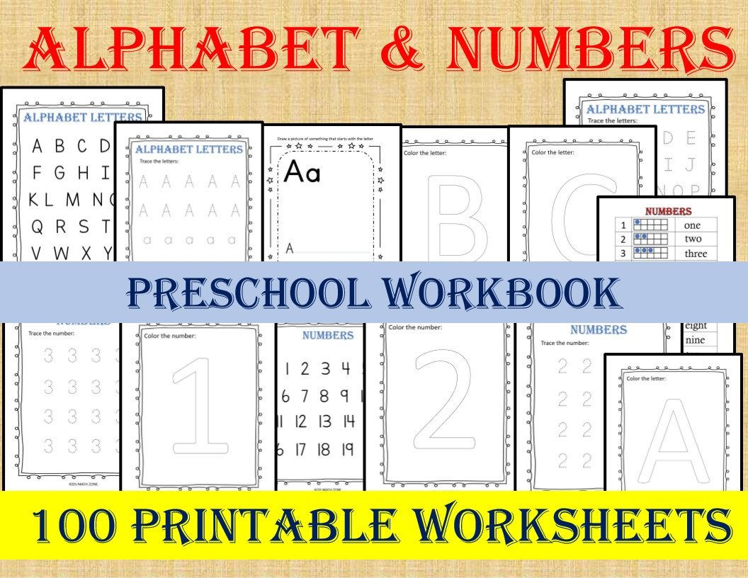 Alphabet Amp Numbers 100 Worksheets Preschool Workbook