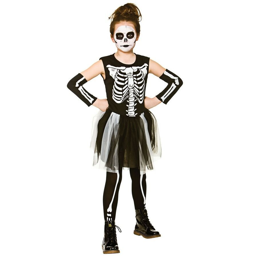 Girls Day of the Dead Costume Mexican Kids Halloween Fancy