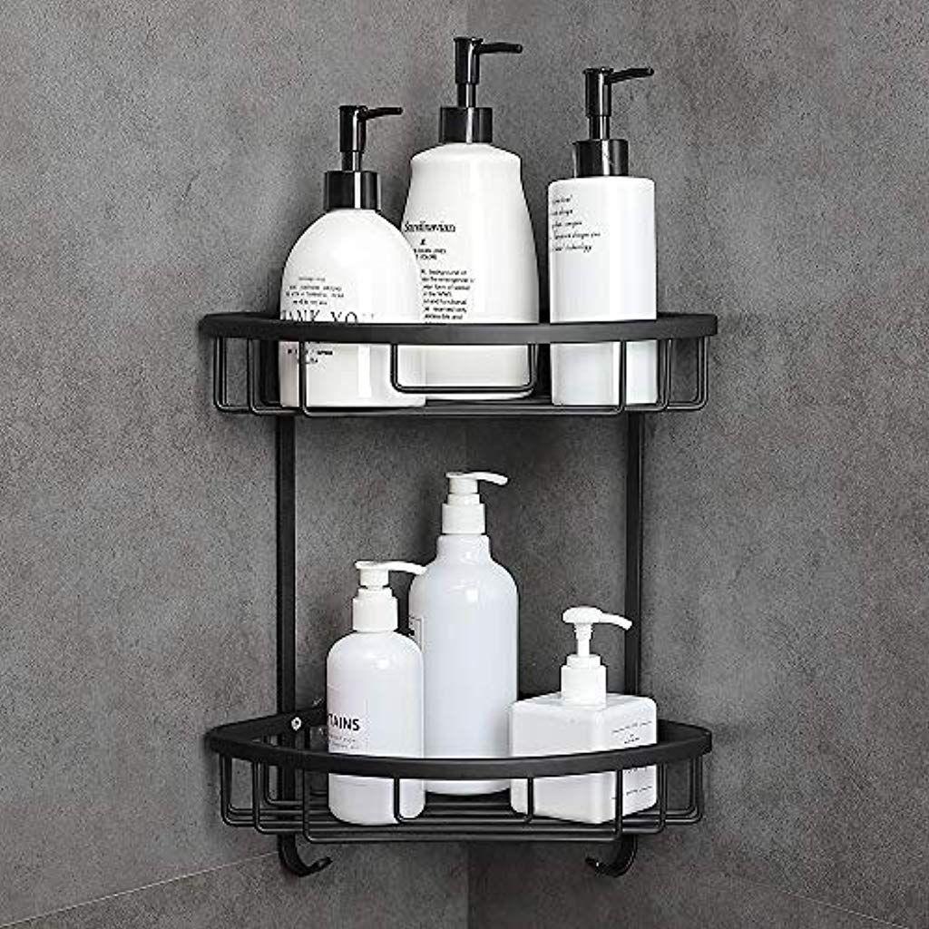 Gricol Shower Shelf No Drilling Space Aluminum Shower Corner Shelf Wall Mounted Self Adhesive Triangular Shower Shelves Shower Corner Shelf Corner Shower Caddy