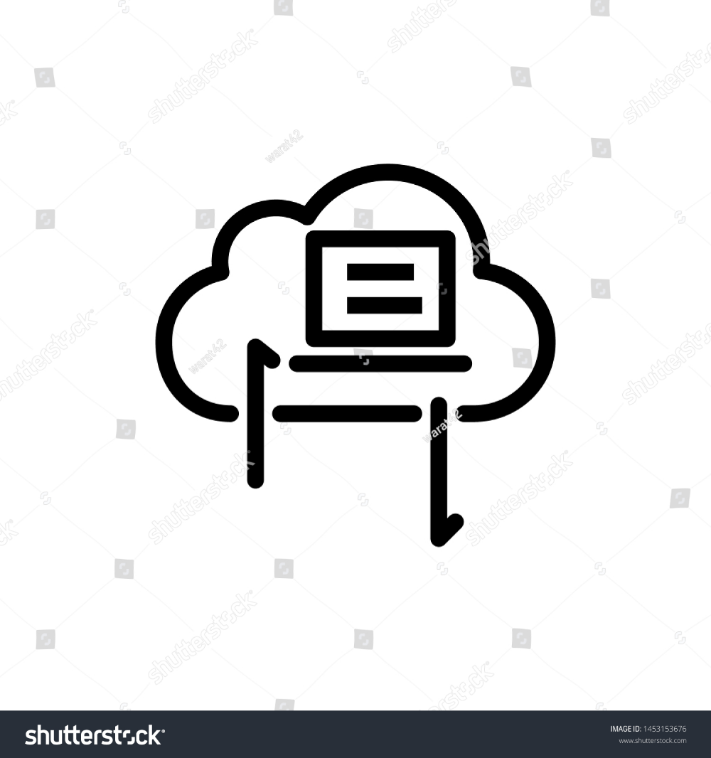 Cloud With Laptop And Arrow Isolated On White Background Thin Line Icon Vector Illustration For Symbol Web Or App Stock Clouds Vector White Stock Image