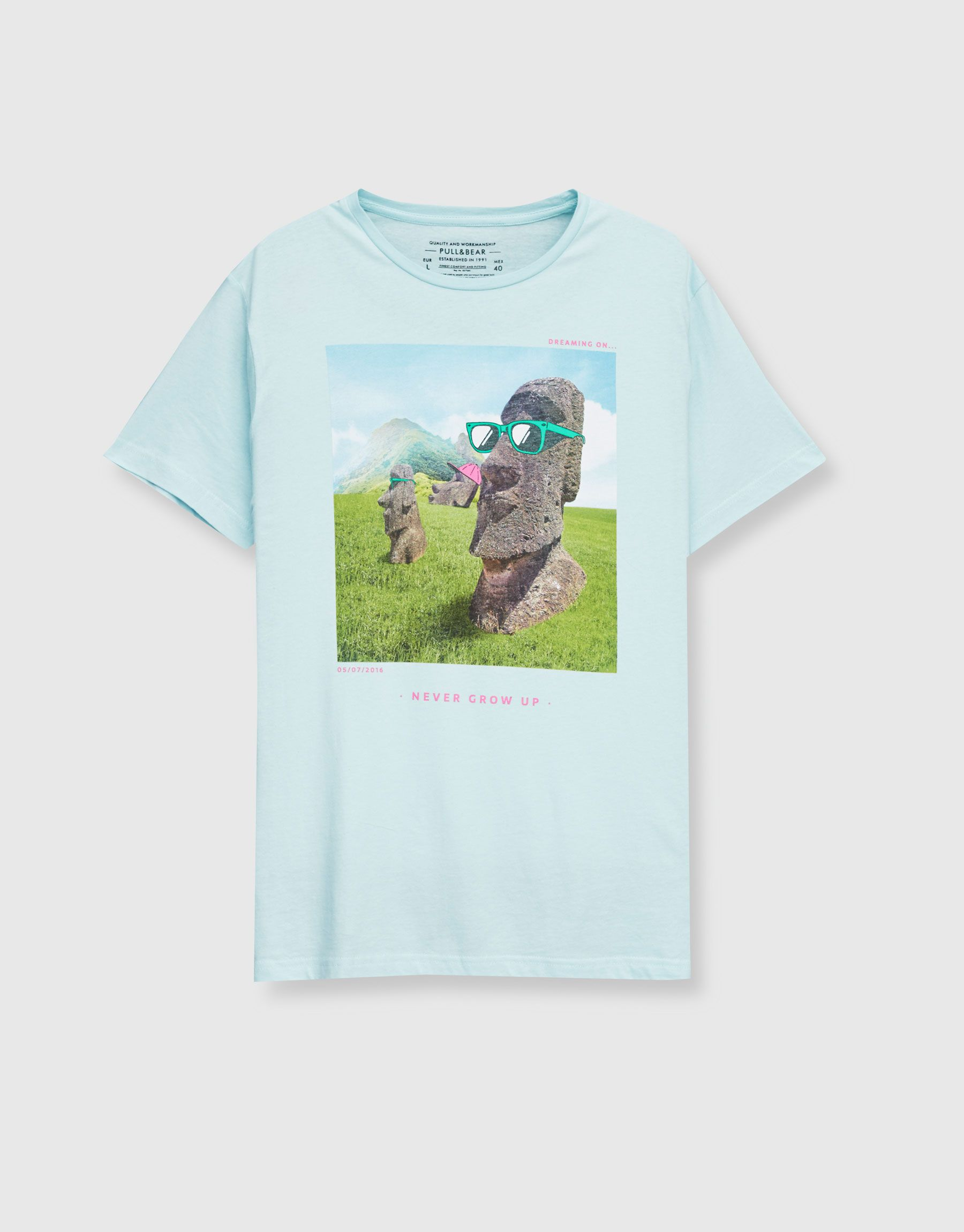 Hombre Estatuas Camisetas Estampado Pull amp;bear Camiseta Ropa dCrxoBeW