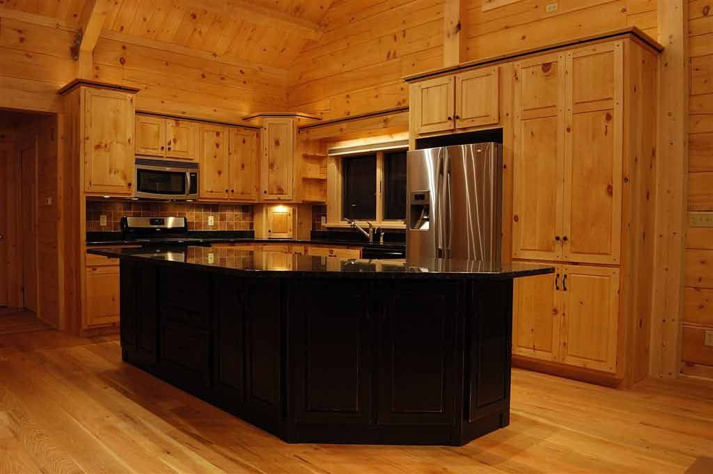 Awesome And Cozy Pine Kitchen Cabinets Design With ...