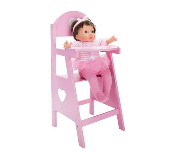 WHITE Chad Valley Babies To Love Wooden Doll/'s Highchair Girls Doll Play Toy
