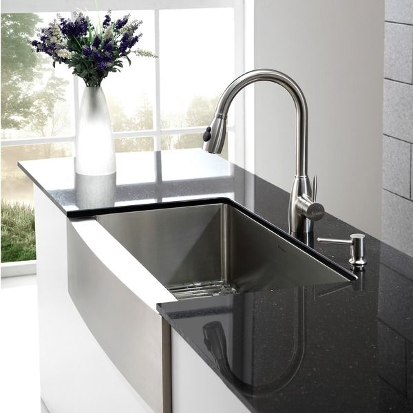 KRAUS 36 Inch Farmhouse Single Bowl Stainless Steel Kitchen Sink With  NoiseDefend Soundproofing By Kraus