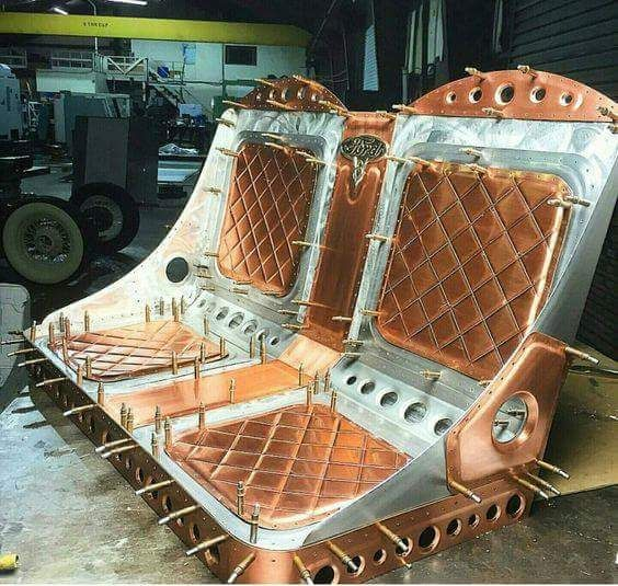 Fabricated Bomber Bench Seat With Copper Accents