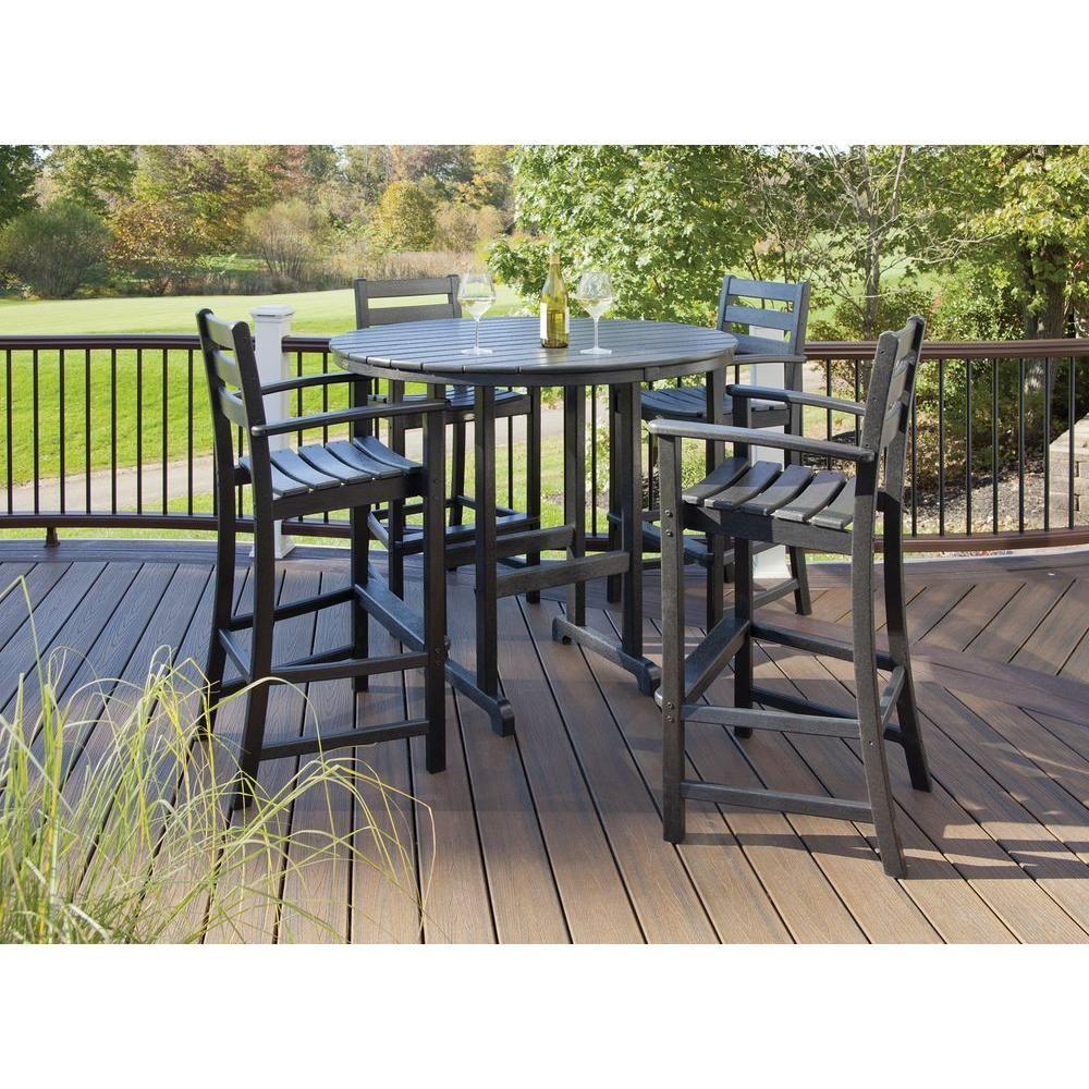 Trex Outdoor Furniture Monterey Bay Charcoal Black 5 Piece Plastic