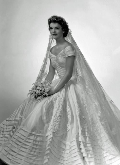 a7ea97713ef1d Jackie Kennedy in her wedding dress. Wedding dress inspiration ...