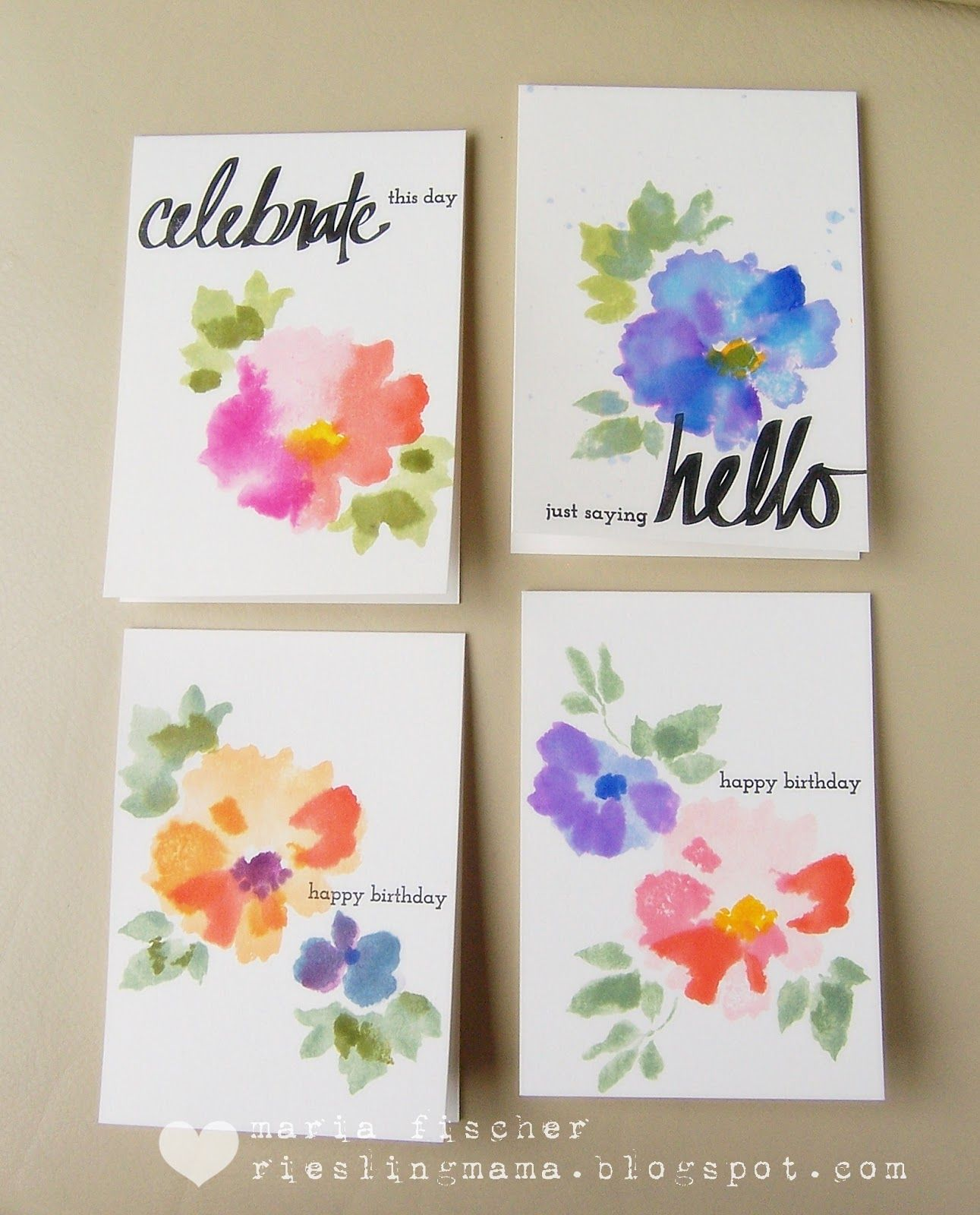 Rieslingmama Watercolor Birthday Cards Watercolor Cards