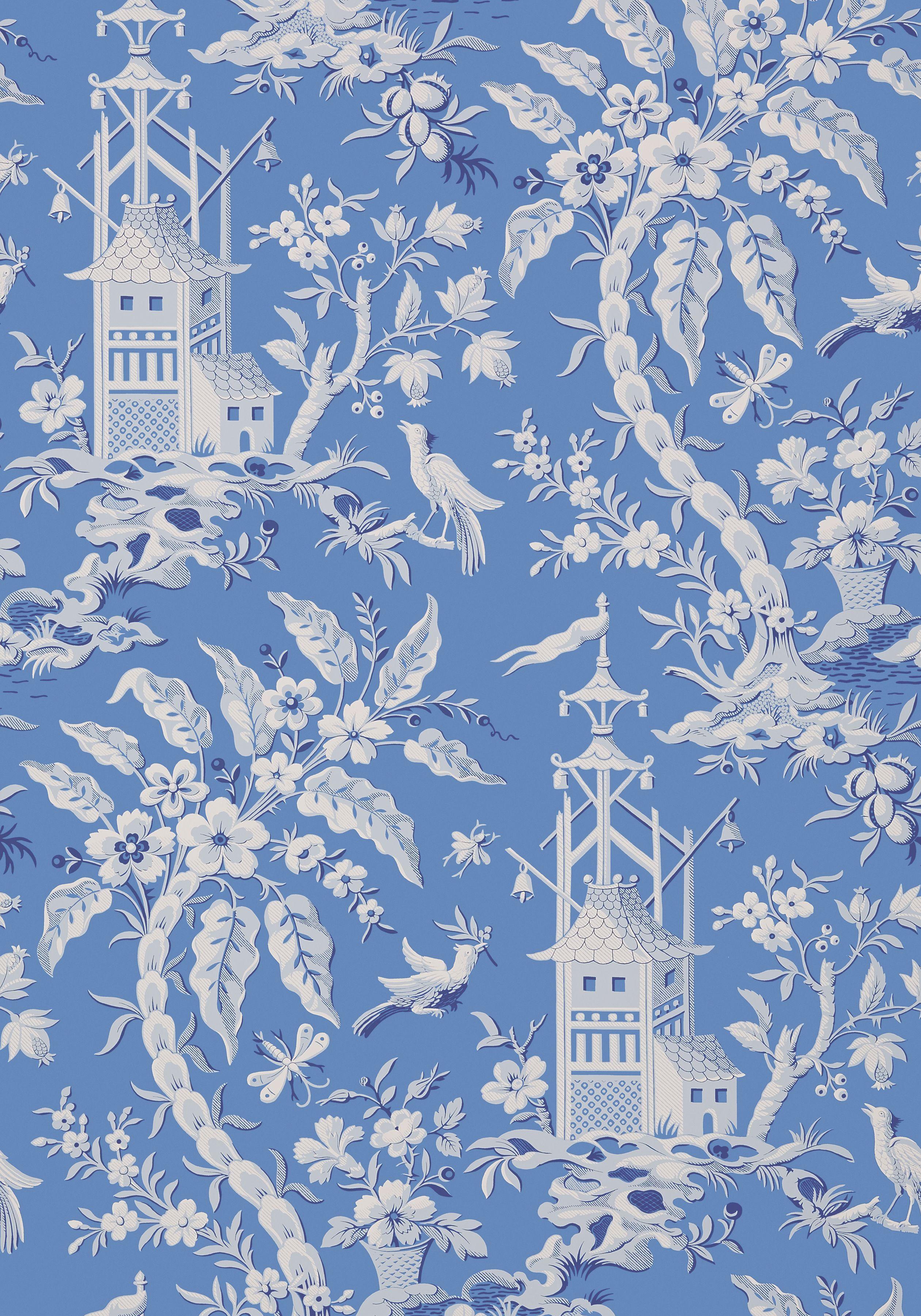 PAGODA GARDEN, Blue, T14204, Collection Imperial Garden