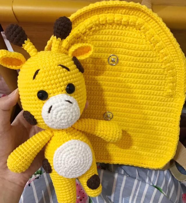 Shereos crochet pattern+video tutorial of kids animals series crochet backpack