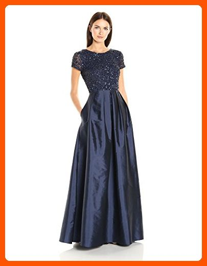 1c44519468 Adrianna Papell Women s Beaded Bodice Dress with Taffeta Gown and Cap  Sleeves