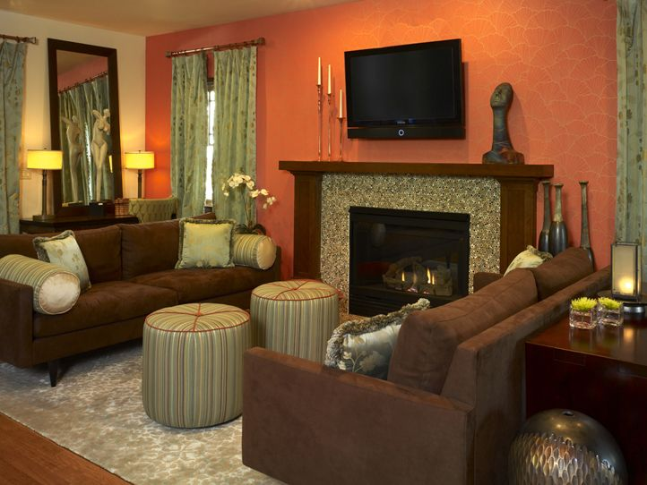 orange and green for living room also like the arrangement around fireplace - Brown And Orange Bedroom Ideas