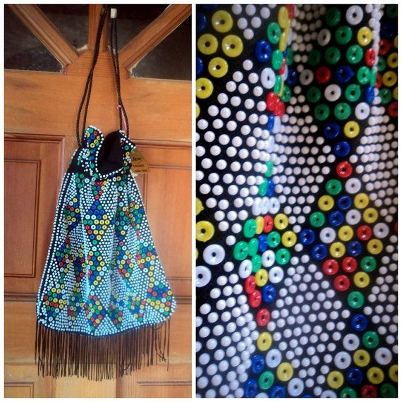 Vintage 70s Hippie Pouch Harlequin Beaded Bag $32.00 by caligodessvintage