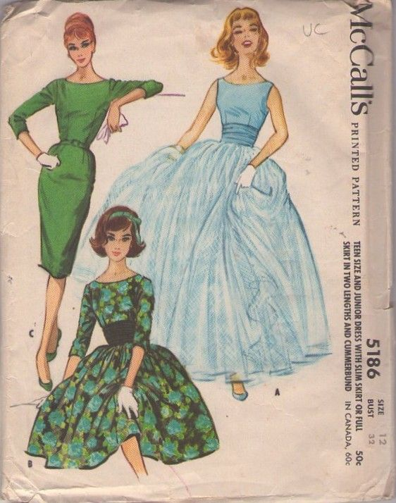 McCall\'s 5186 Vintage 50\'s Sewing Pattern INCREDIBLE Grace Kelly ...