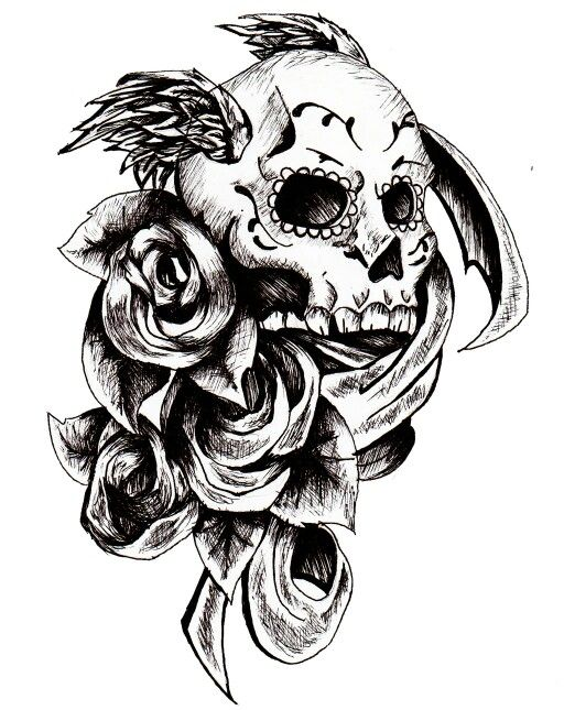 Skull tattoo roses and add hair
