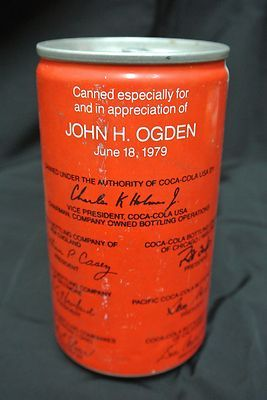 Rare Coca Cola Vice President John Ogden coke can ..FOLLOW THIS BOARD FOR GREAT COCA COLA PINS OR ANY OF OUR OTHER COCA COLA BOARDS. WE HAVE A FEW SEPERATED BY THINGS LIKE BOTTLES, CANS, VEHICLES, ADS AND EVERYTHING ELSE COKE...CHECK 'EM OUT!! HERE ----> www.pinterest.com