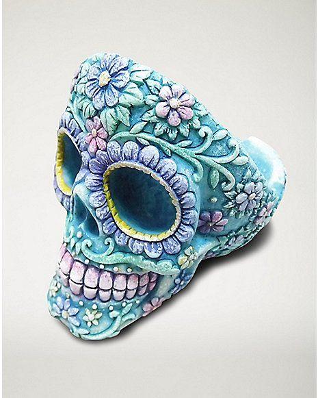 Sugar Skull Head Ashtray - Resin Blue - Spencer's