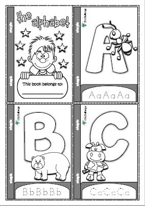 The Alphabet Mini Book For Colouring Writing Practice Kindergarten Alphabet Mini Book Preschool Learning Activities