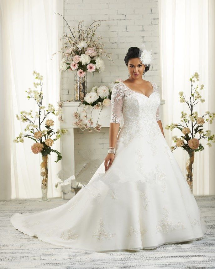 Plus Size White/Ivory Half Sleeve Lace Beads Bridal Gown Wedding ...