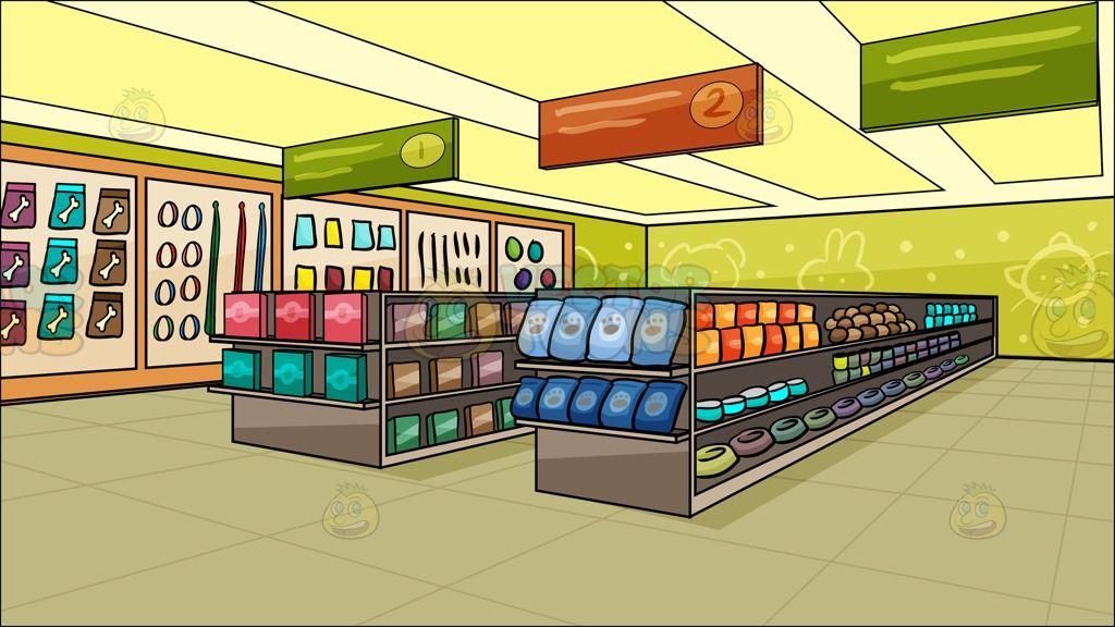 Inside A Pet Store Background Cartoon Stock Clip Art Vector