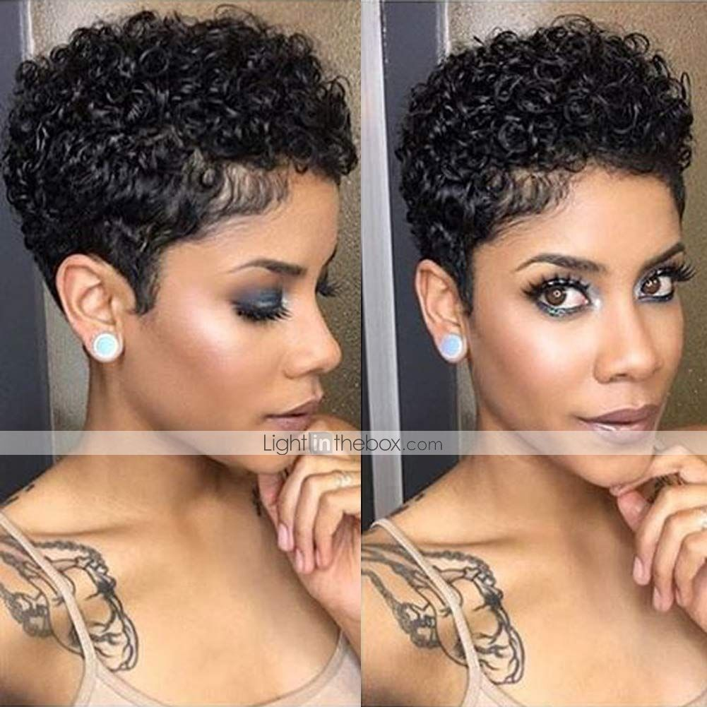 Remy Human Hair Wig Short Afro Curly Pixie Cut Nat