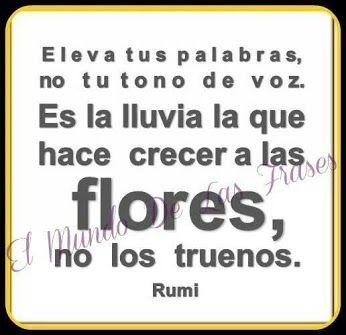 ... Eleva tus palabras no tu tono de voz. Es la lluvia la que hace crecer a las flores, no los truenos. Rumi.