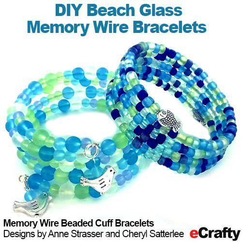 DIY Beach Glass Memory Wire Beaded Cuff Bracelet Recipes from ...
