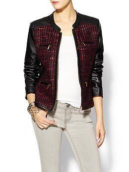 #Calvin Klein Zip Front Tweed Jacket   #Piperlime  Bonus: Its #Vegan Leather!!