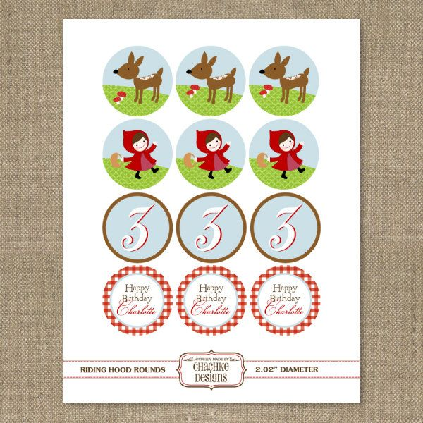 Printable 2 IN ROUND Little Red Riding Hood cupcake toppers