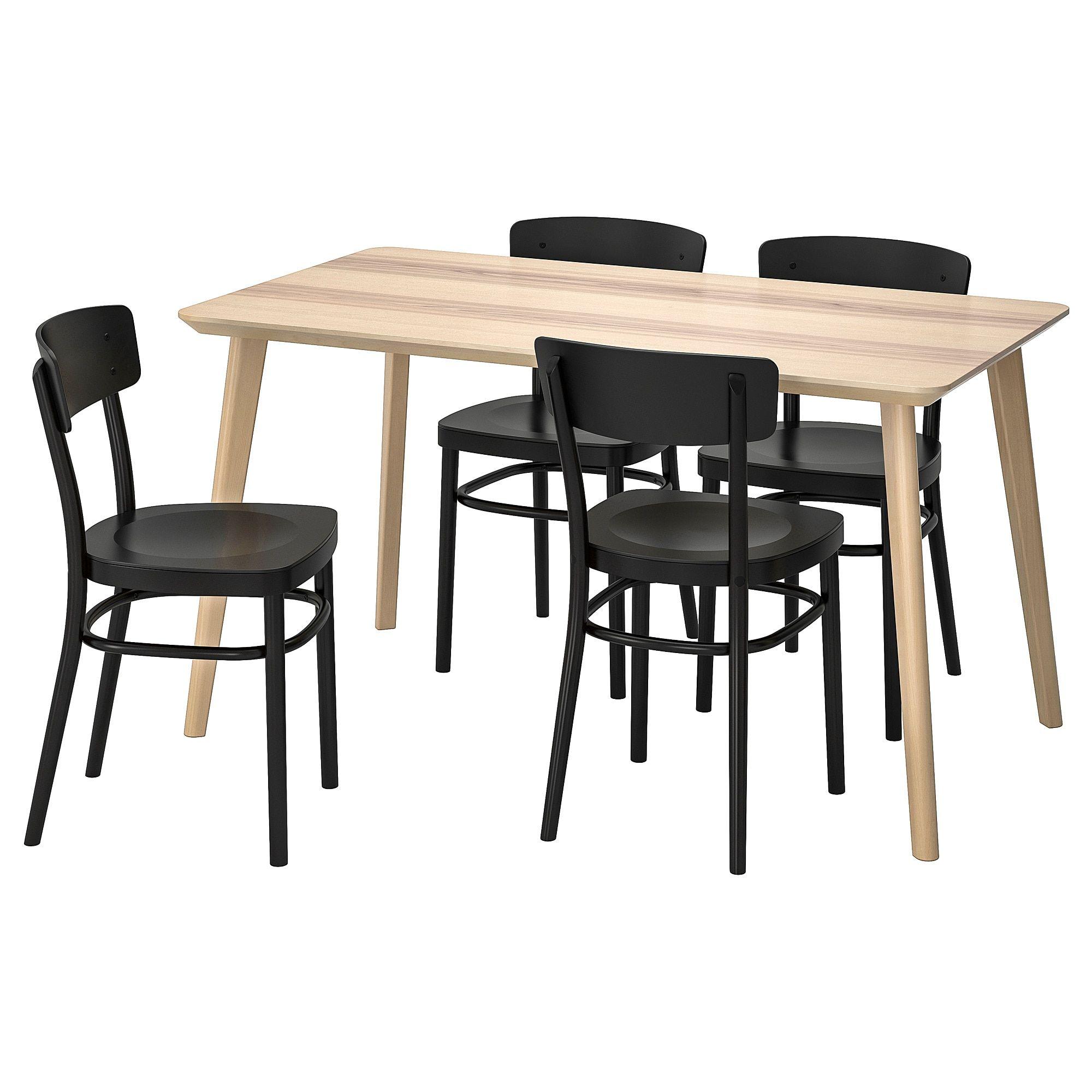 Lisabo Idolf Tisch Und 4 Stuhle Eschenfurnier Schwarz Ikea
