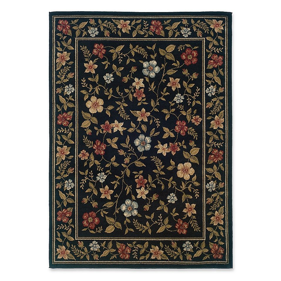Amaya Rugs Chapman Framed Floral 5 X 7 3 Area Rug In Black