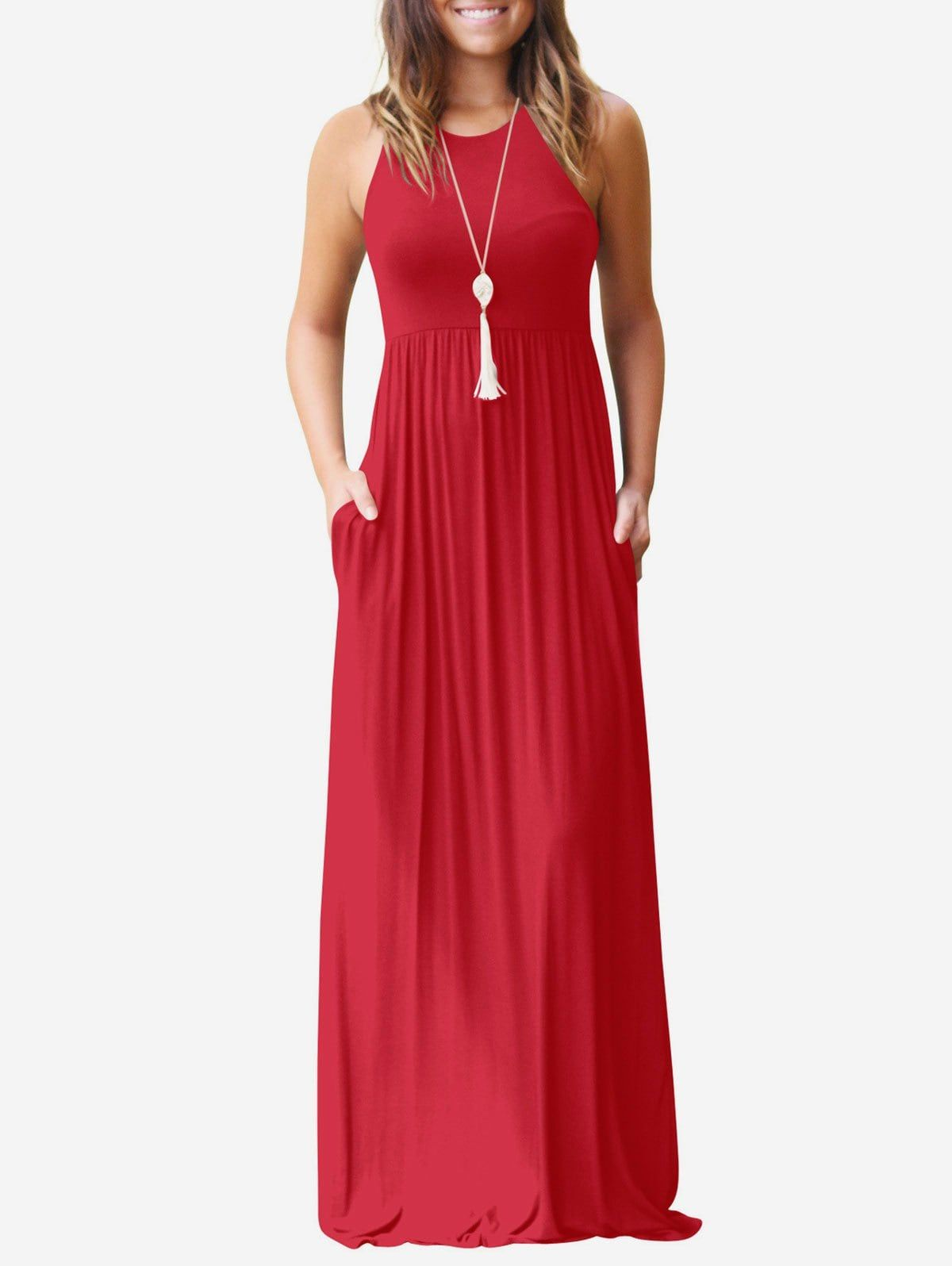 Front Pocket High Waist Dress   Maxi dress, Plain maxi ...