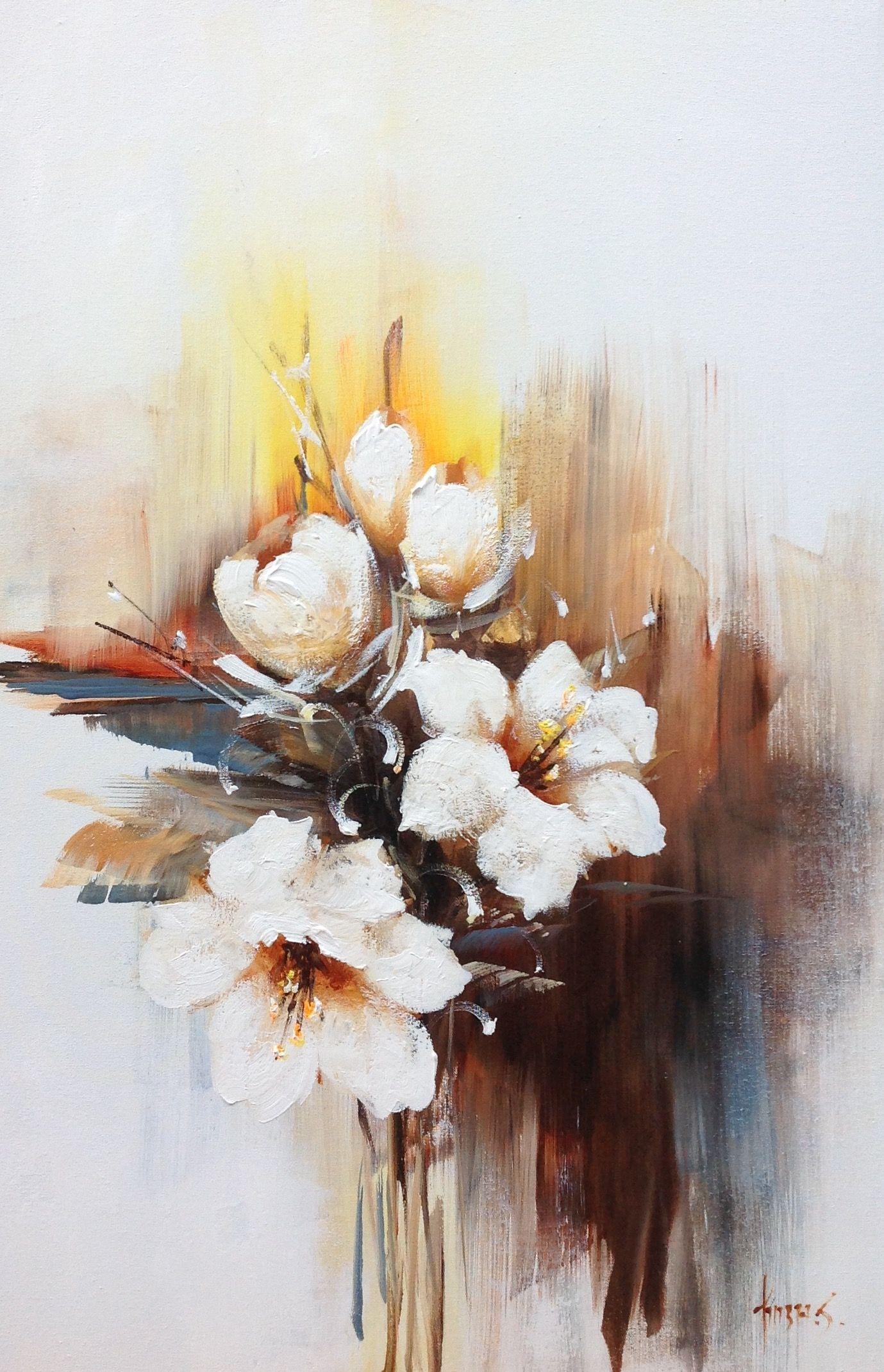 Blumen Acryl Suluboya Cicekler Tuval Sanati Soyut Resimler