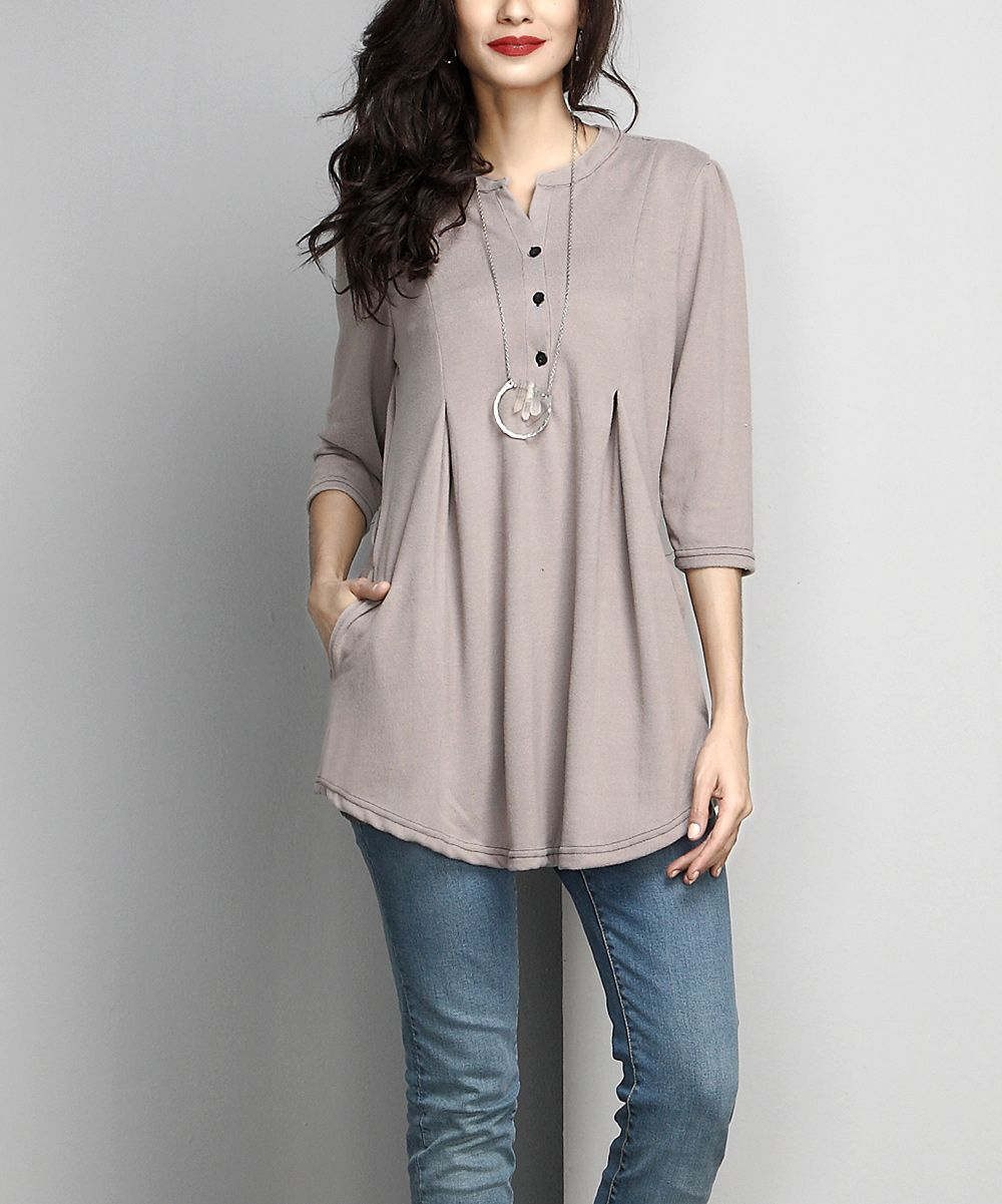 aab2b4c6cc2 Gray Button-Front Side-Pocket Tunic | Products | Blouse designs ...