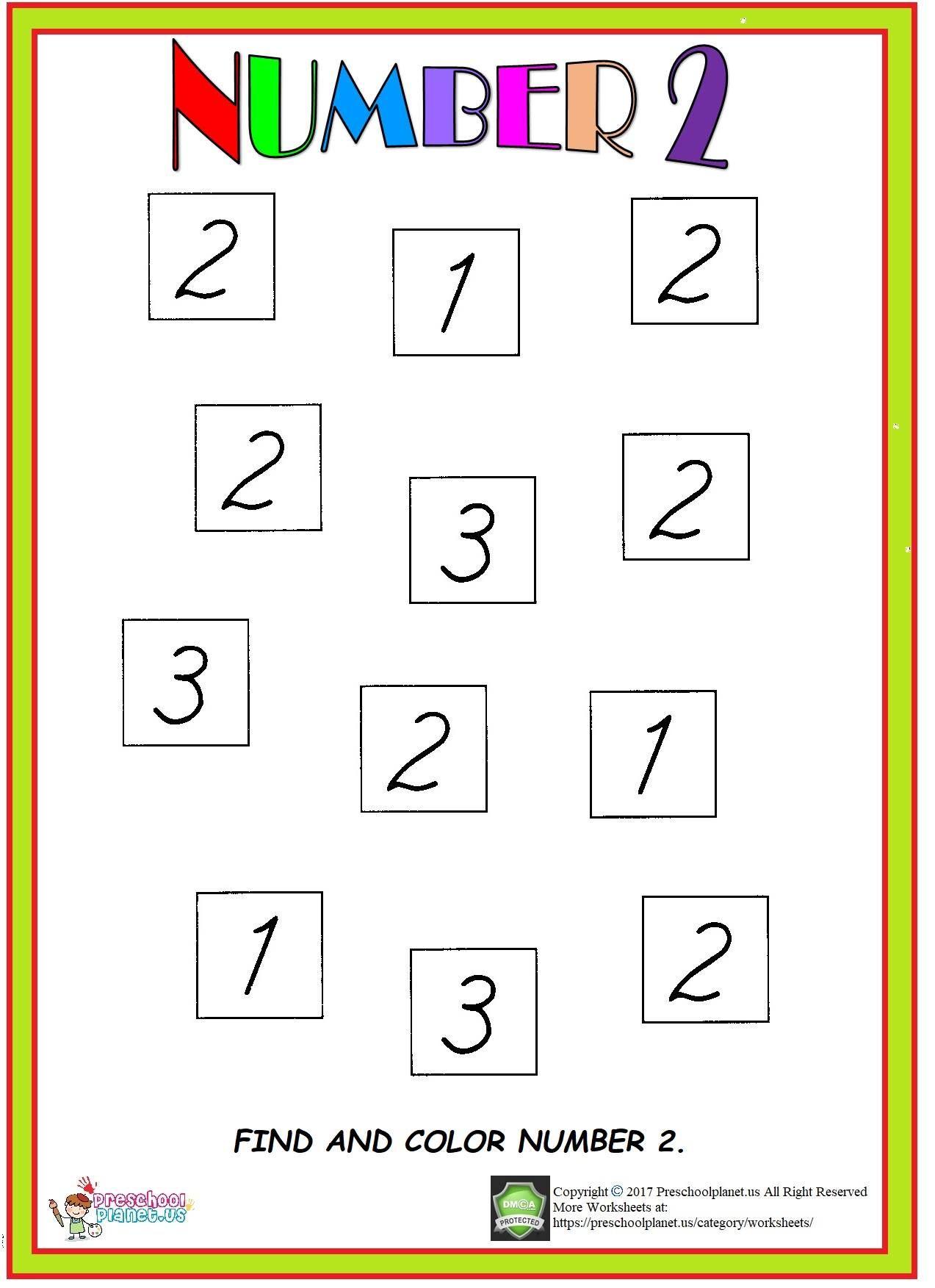 Number 2 Worksheet Numbers preschool, Numbers