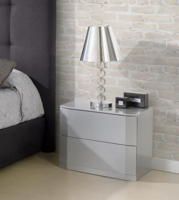 Sandra Modern 2 Drawer Bedside Cabinets In High Gloss White Or Mocha