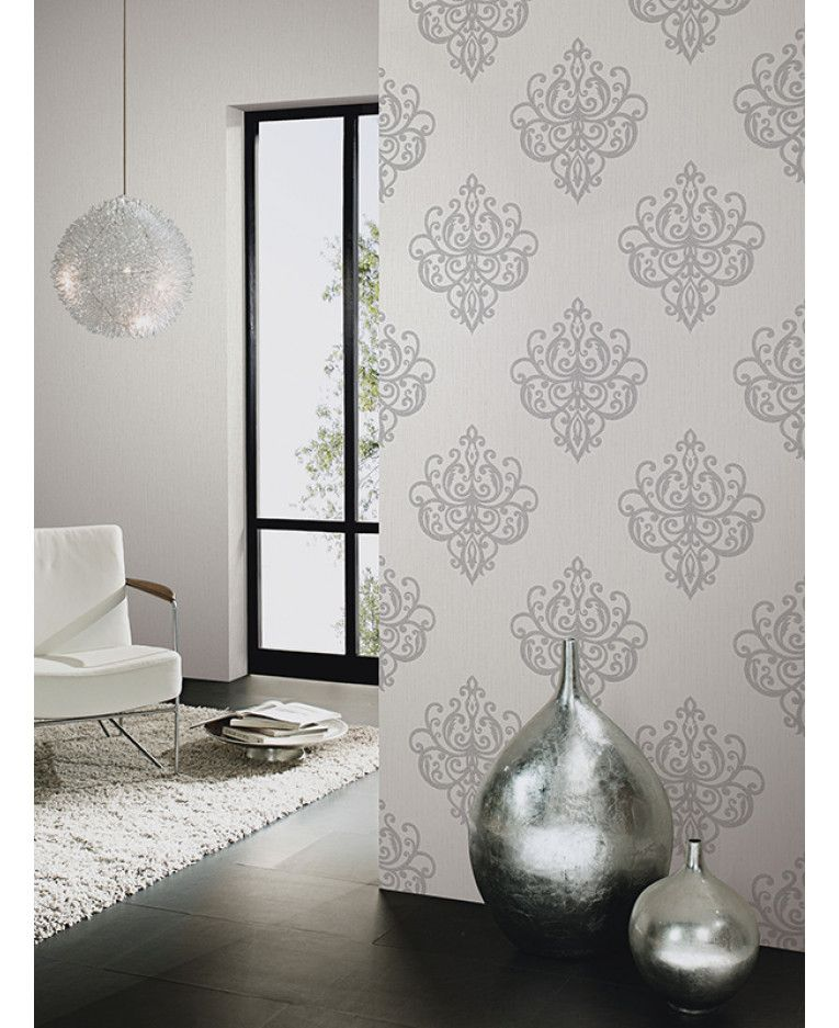 The Glittery World Of Silver Bedroom Ideas: This Opal Damask Glitter Wallpaper In Cream And Silver
