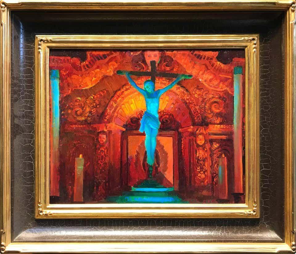 Peter Adams Crucifix And Retablo At Serra Chapel Mission San Juan Capistrano Mission San Juan Capistrano Art Crucifix