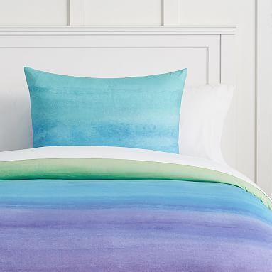 Watercolor Rainbow Organic Duvet Cover Sham Cool Organic
