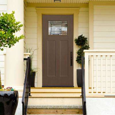 Masonite 36 In X 80 In Everland Caramel Grain Left Hand Inswing Sequence 1 4 Lite Finished Fiberglass Prehung Front Door 96390 The Home Depot Exterior Doors Exterior Front Doors Front Door