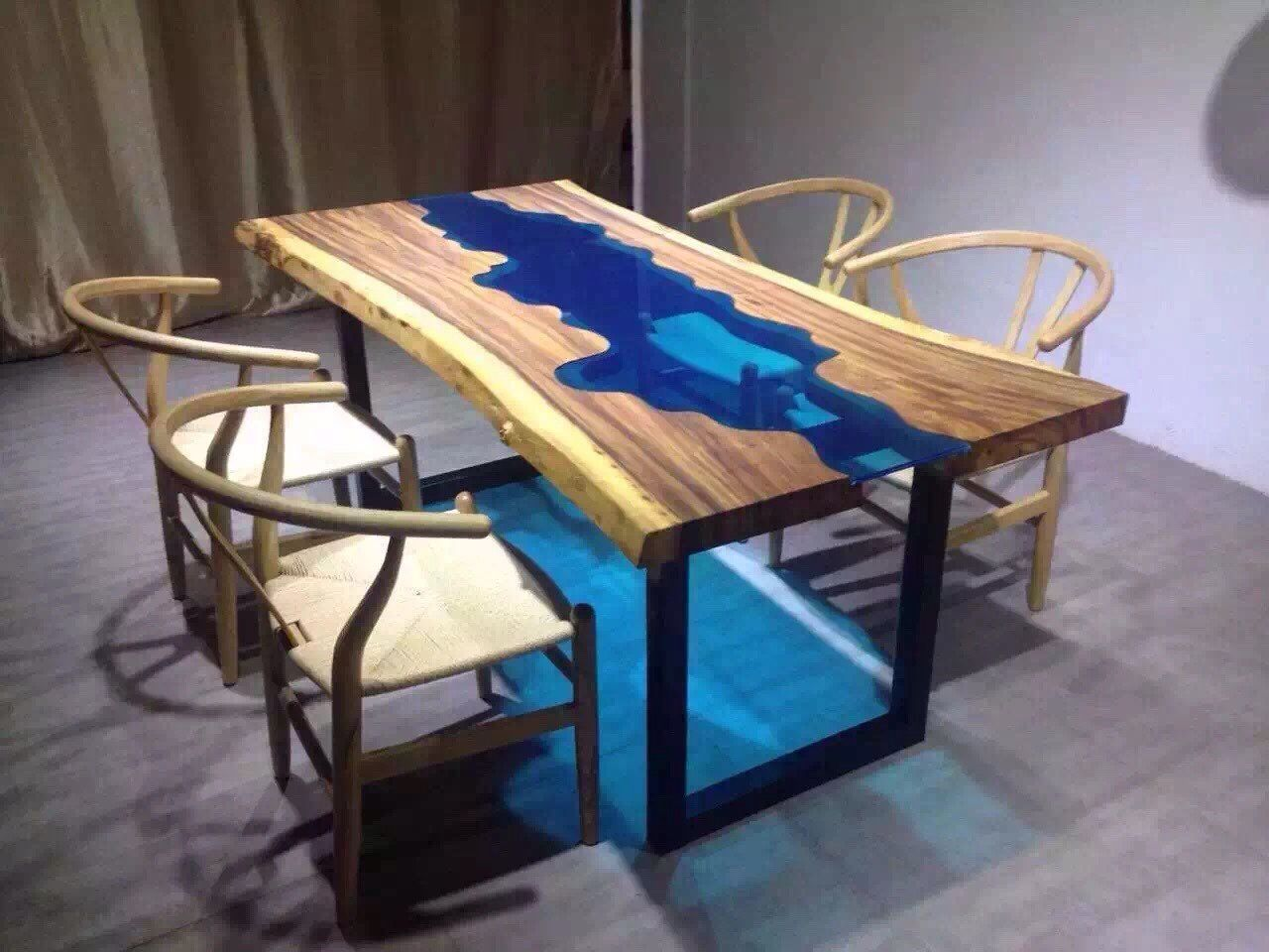Glass Dining Table custom made acacia live edge river wood and glass dining table