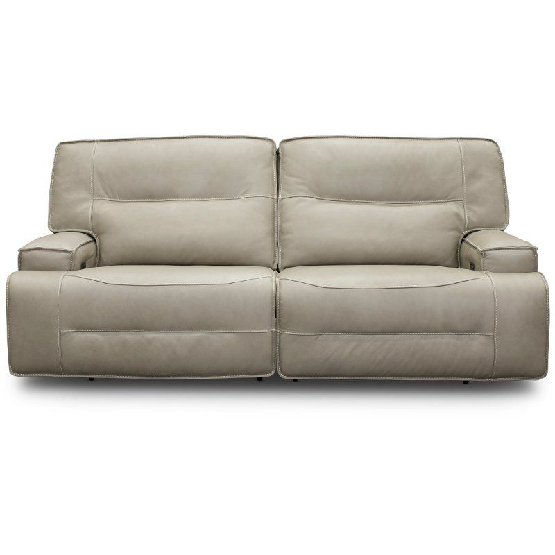 Hermes Dove Beige Leather Match Power Reclining Sofa Rockies Reclining Sofa Power Recliners Sofa