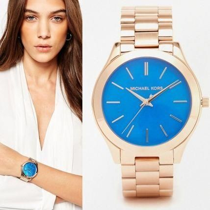 05c654c09f9c Michael Kors MK3494 Slim Runway Blue Dial Rose Gold Stainless Steel Womens  Watch  MichaelKors