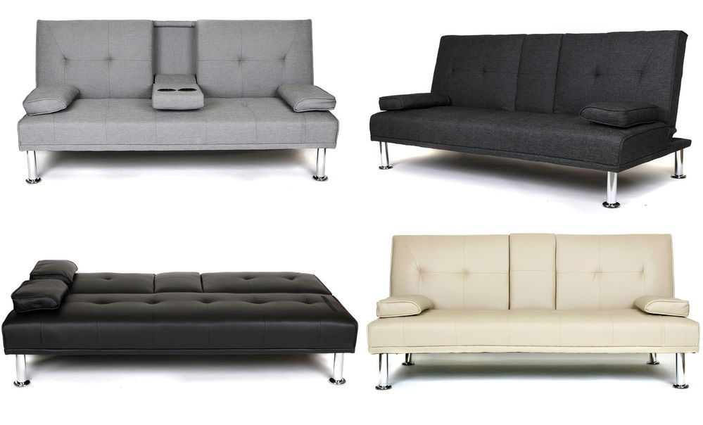 Details About New Metro Modern Sofa Bed Grey Or Slate Grey Fabric Black Or Cream Faux Leather Grey Sofa Bed Sofa Bed Grey Fabric