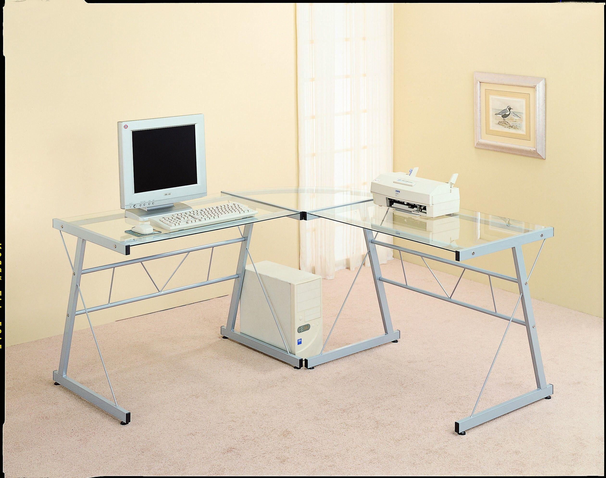 Monarch Specialties Black Corner Desk With Glass Top I 7172