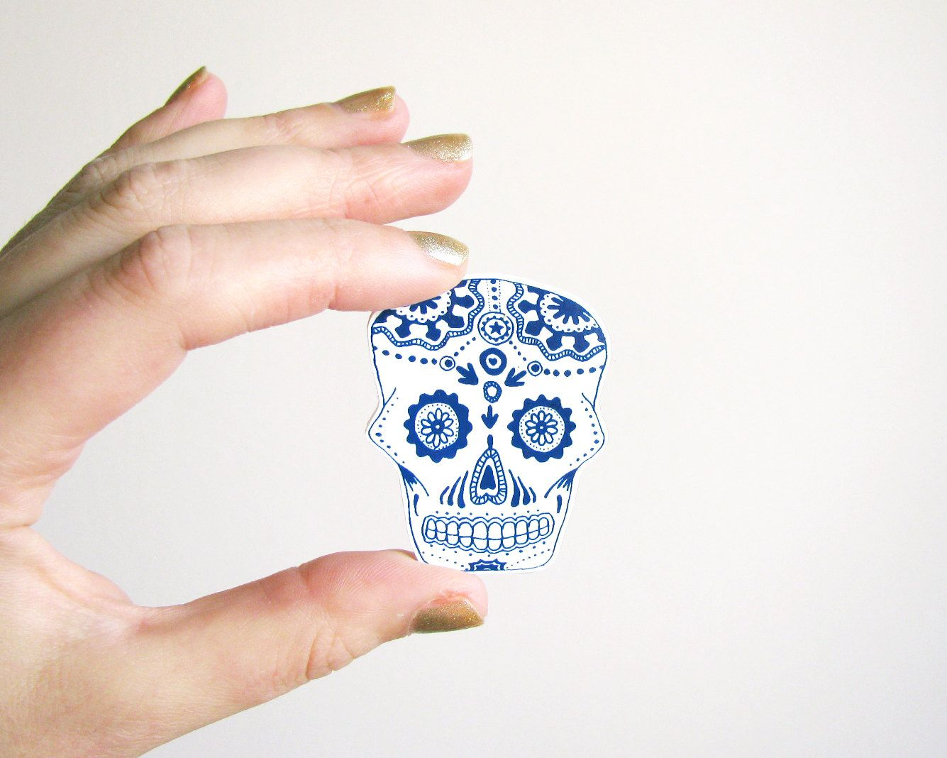 Dia de los Muertos brooch Calavera blue skull shrinking plastic jewelry handmade accessories gift for him or her halloween. €5.95, via Etsy.