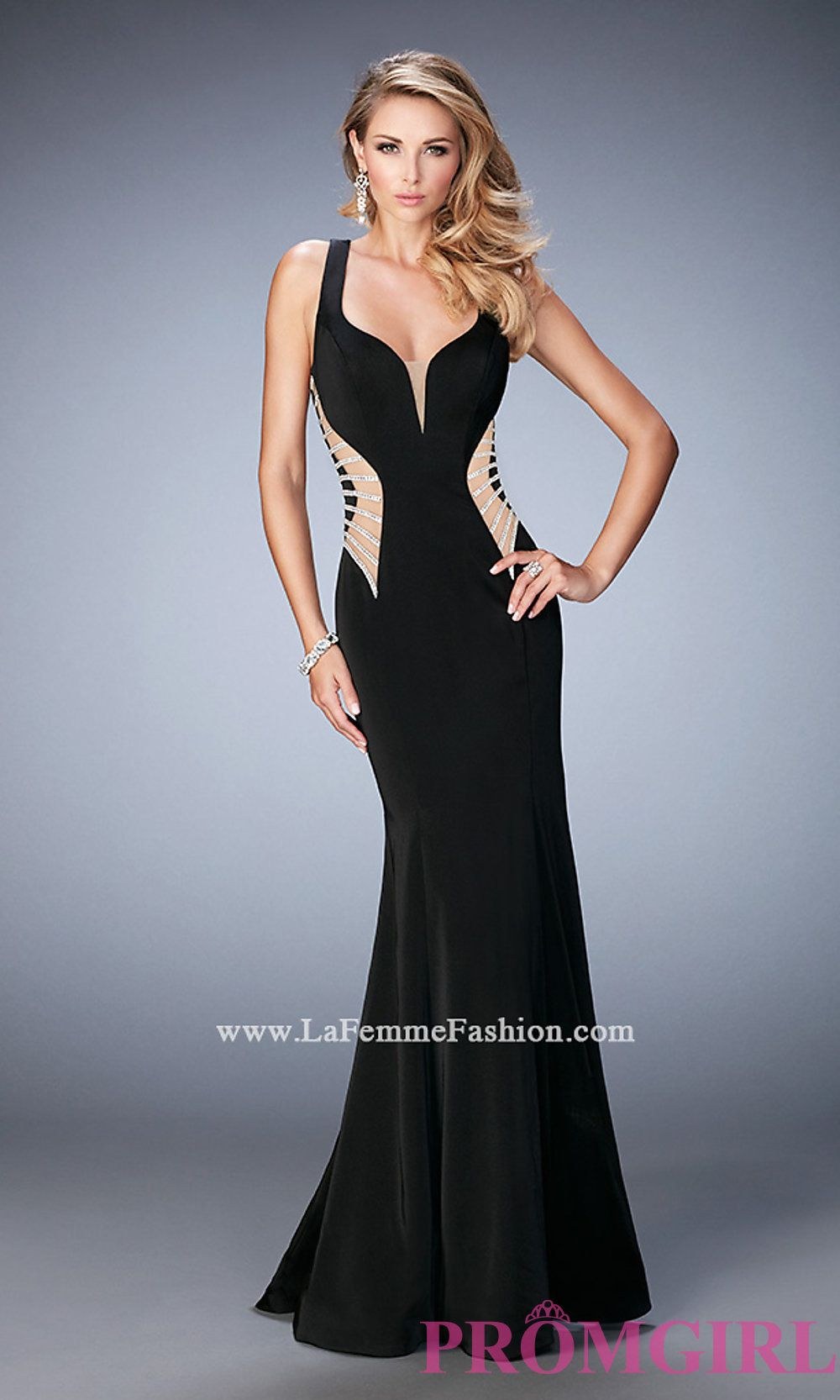 Long Sweetheart Prom Dress with Sheer Sides by La Femme LF-22742 ...